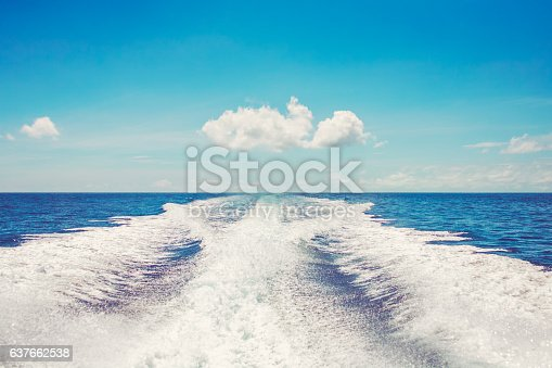 Background water surface behind of fast moving motor boat in vintage retro style