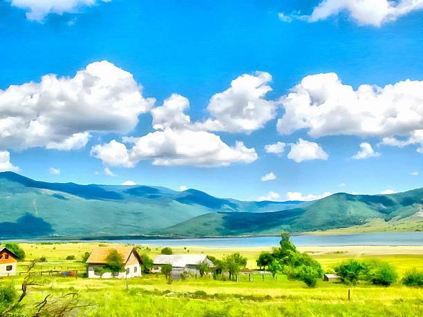 background watercolor painting of a grassy field, mountains and - bilder landschaften stock-fotos und bilder