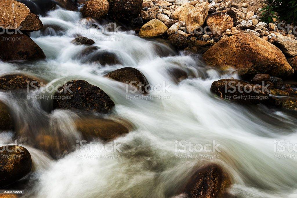 Background Waterfall rocks. Waterfall nature. stock photo