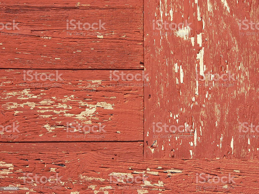 Background - weathered wood with peeling red paint royalty-free stock photo