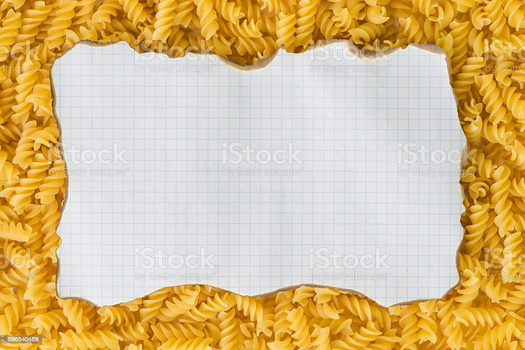 background, white sheet of paper, pasta, royalty-free stock photo