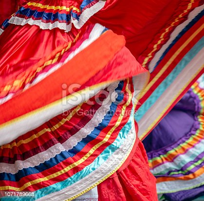 Background with a Mexican dancer's dress while dancing.