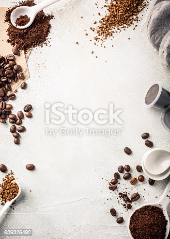 istock Background with assorted coffee 639326492