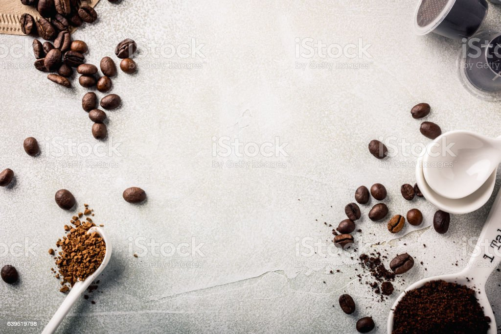 Background with assorted coffee stock photo