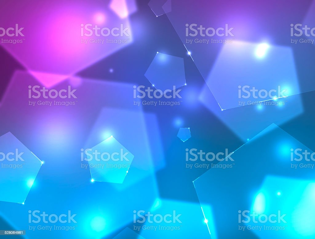 Background with blue and purple pentagons. 4k resolution. stock photo