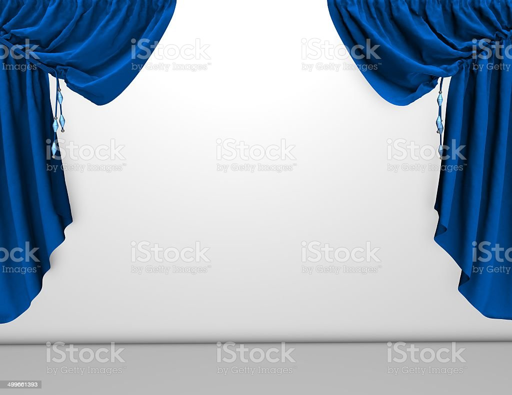 background with blue velvet curtains and empty white wall, template stock photo