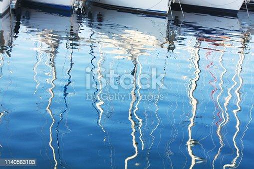 istock Background with boats reflection in Adriatic Sea Pula Croatia. 1140563103