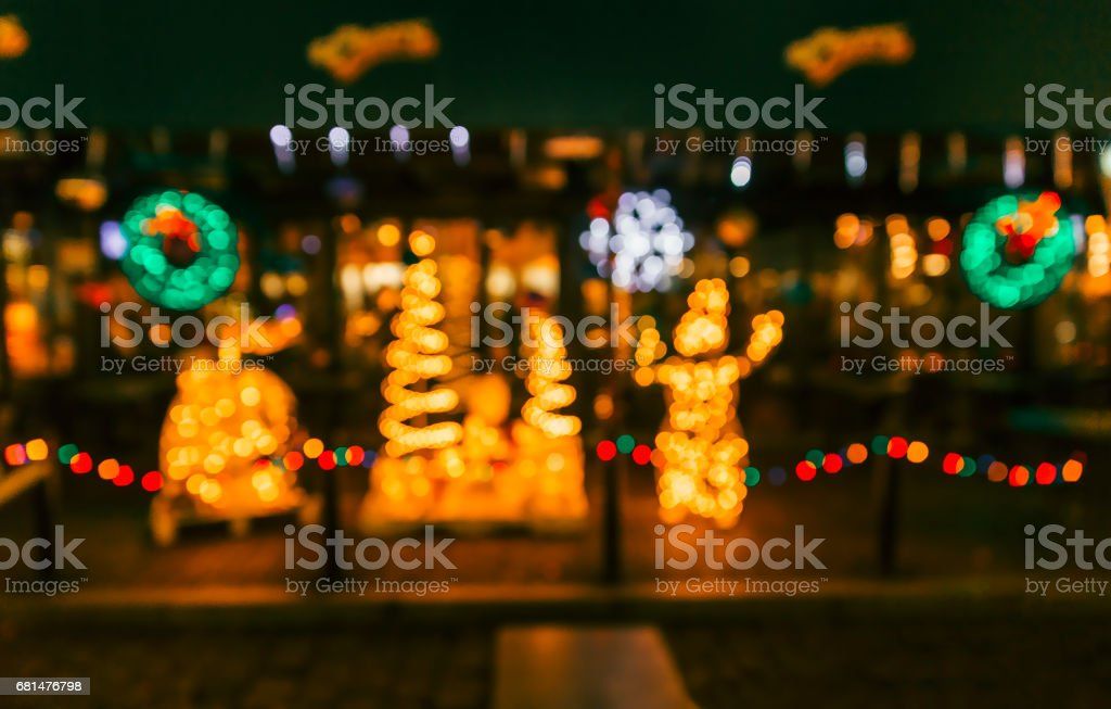background with Christmas decorations outdoors stock photo