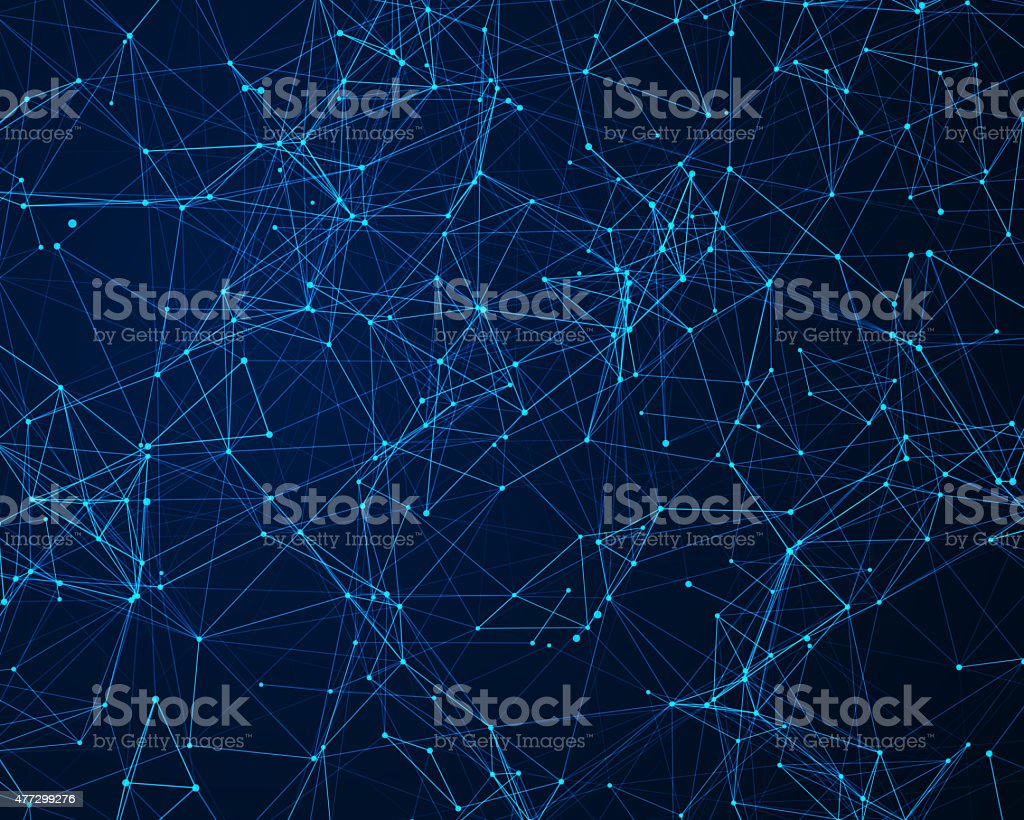 Background with cybernetic particles stock photo