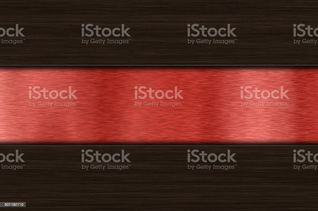 Background with dark wood over brushed metal stock photo
