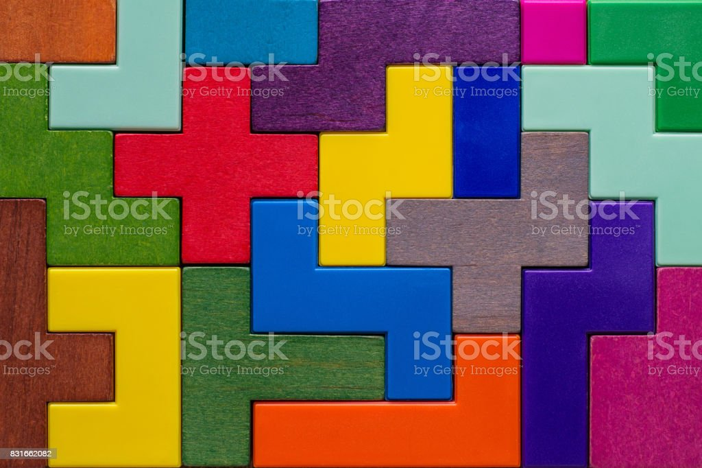 Background with different colorful shapes wooden blocks stock photo