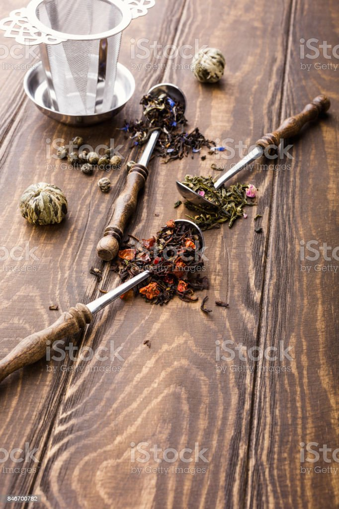 Background With Different Types Of Tea Leaves Stock Photo More
