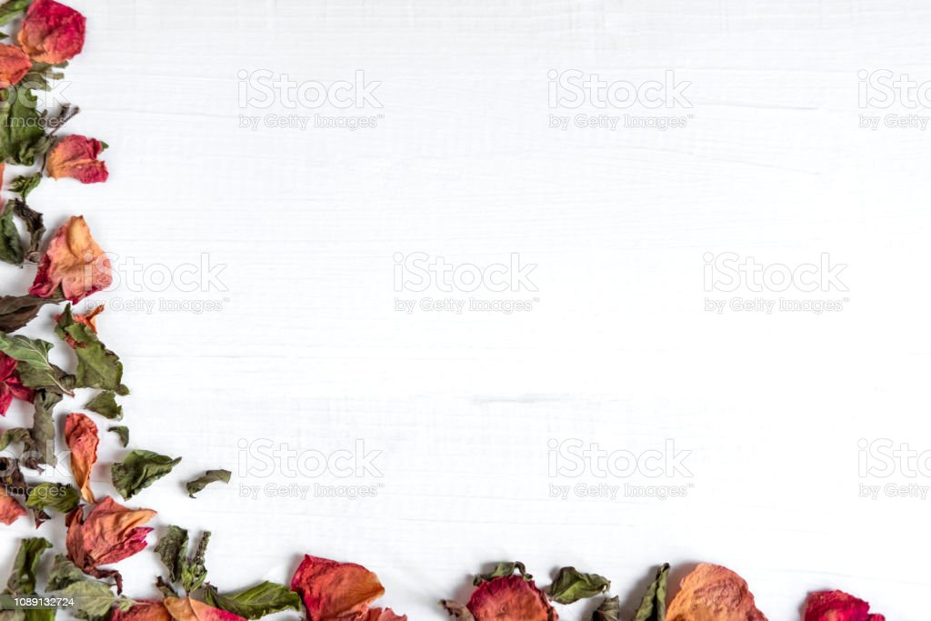 Background with dried leaves and rose petals. Concept with dried rose...