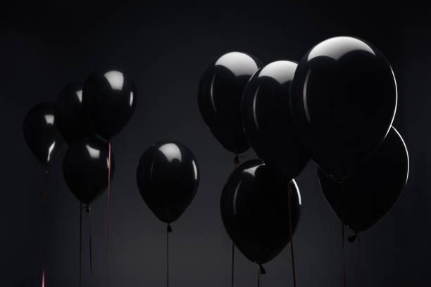 background with festive balloons for black friday - black friday стоковые фото и изображения