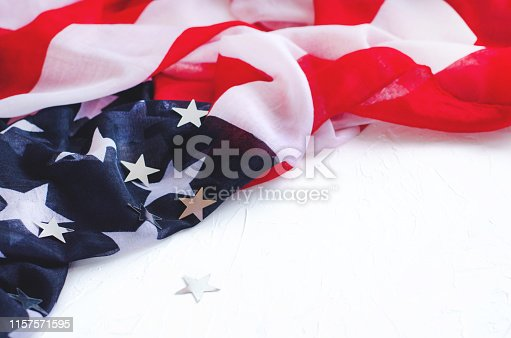 istock Background with flag of America and shiny stars on a white background. 1157571595