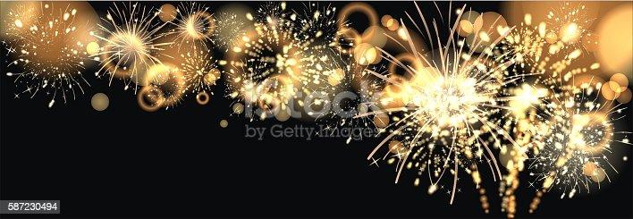 istock background with golden firework 587230494