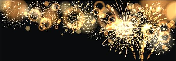 background with golden firework – Foto