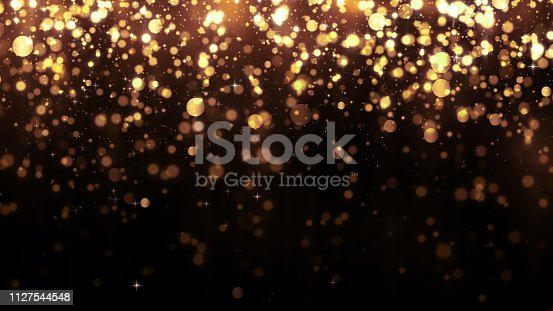 Background with golden glitter falling particles. Beautiful holiday background template for premium design. Falling gold particle with magic light