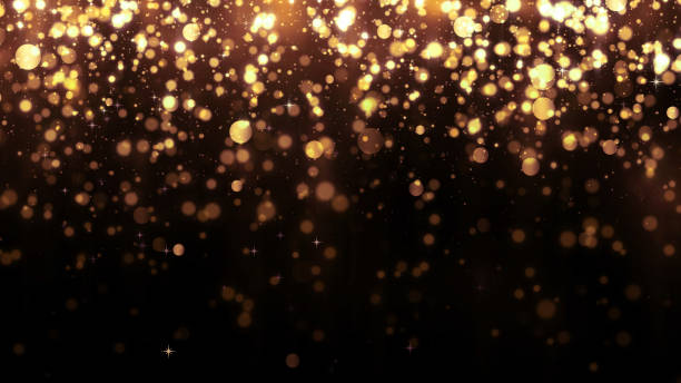 Background with golden glitter falling particles. Beautiful holiday background template for premium design. Falling gold particle with magic light Background with golden glitter falling particles. Beautiful holiday background template for premium design. Falling gold particle with magic light glittering stock pictures, royalty-free photos & images