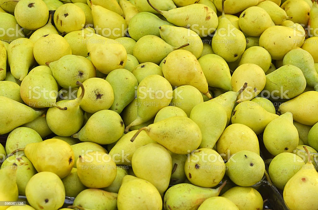 Background with green ripe pears closeup royalty-free stock photo