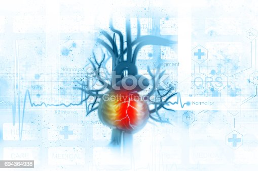 istock ECG background with human heart 694364938