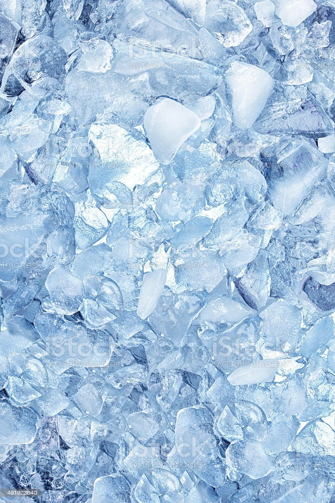 background with ice cubes, top view stock photo
