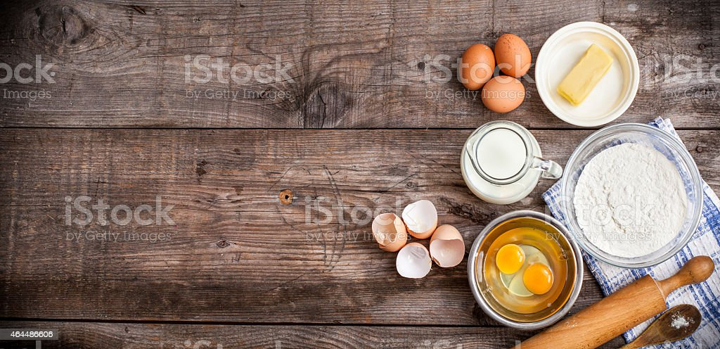 background with Ingredients for a cake stock photo