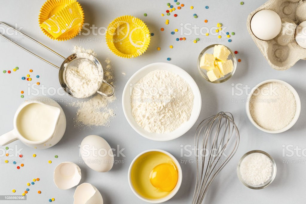 Background with ingredients for cooking, baking stock photo