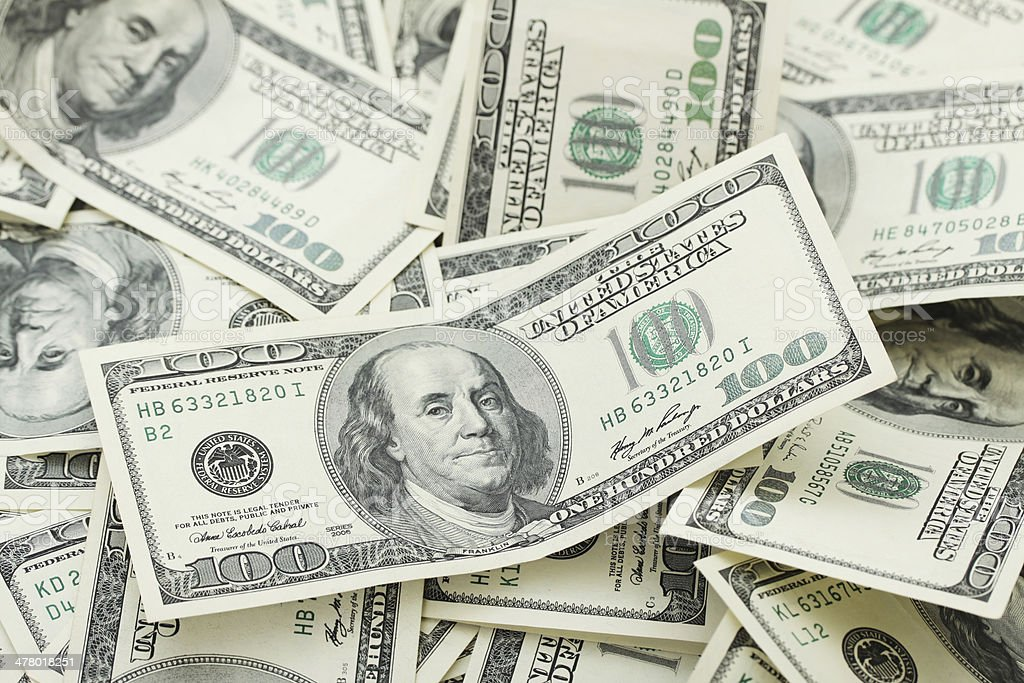 Background with money american hundred dollar bills - horizontal royalty-free stock photo