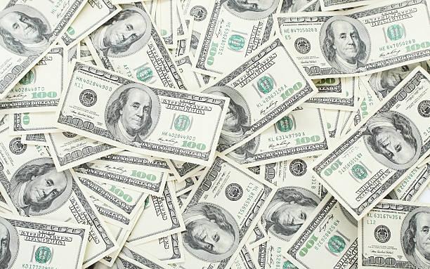 tło z pieniędzy amerykański stu-dolarowe - duża grupa obiektów zdjęcia i obrazy z banku zdjęć
