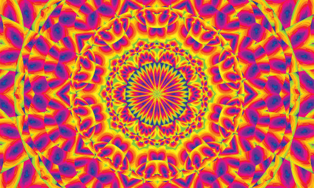 background with multicolored concentric shapes with kaleidoscopic effect - alejomiranda stock pictures, royalty-free photos & images
