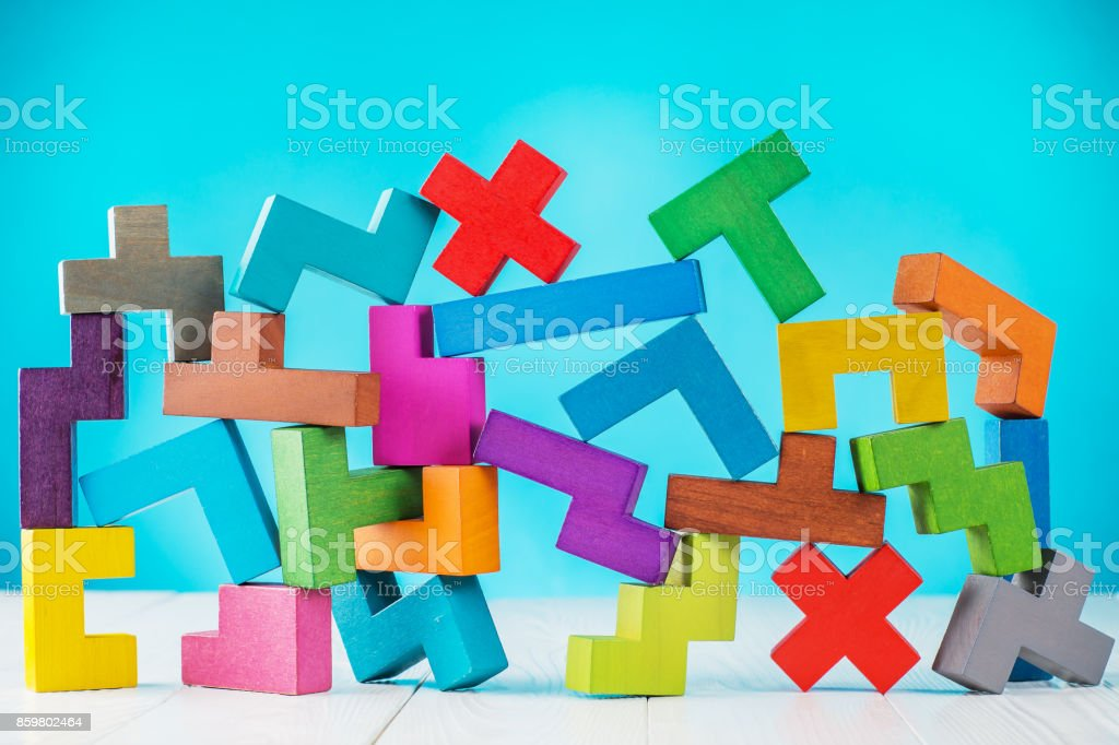 Background with multicolored shapes wooden blocks. stock photo