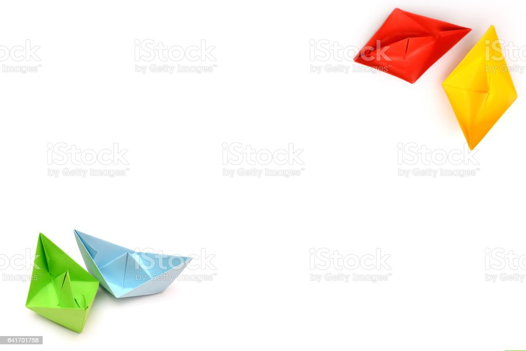 Background With Origami Paper Boats Four Ships Boats In The Corner