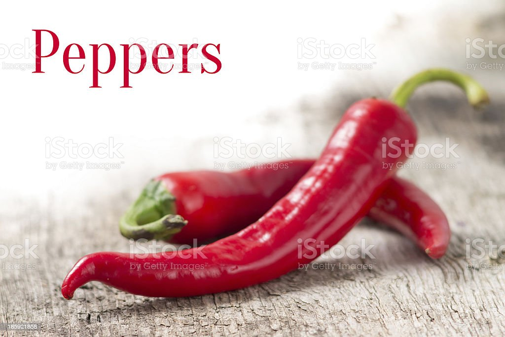 Background with red chili peppers and empty space royalty-free stock photo