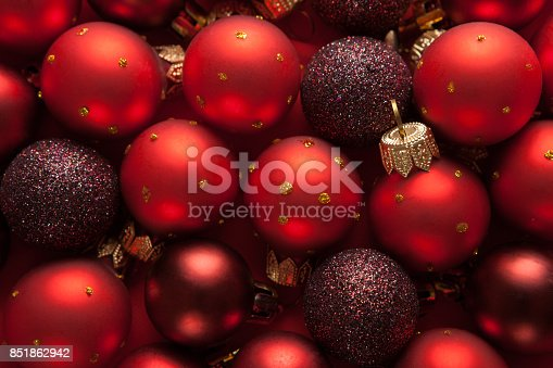 istock Background  with red Christmas balls. 851862942