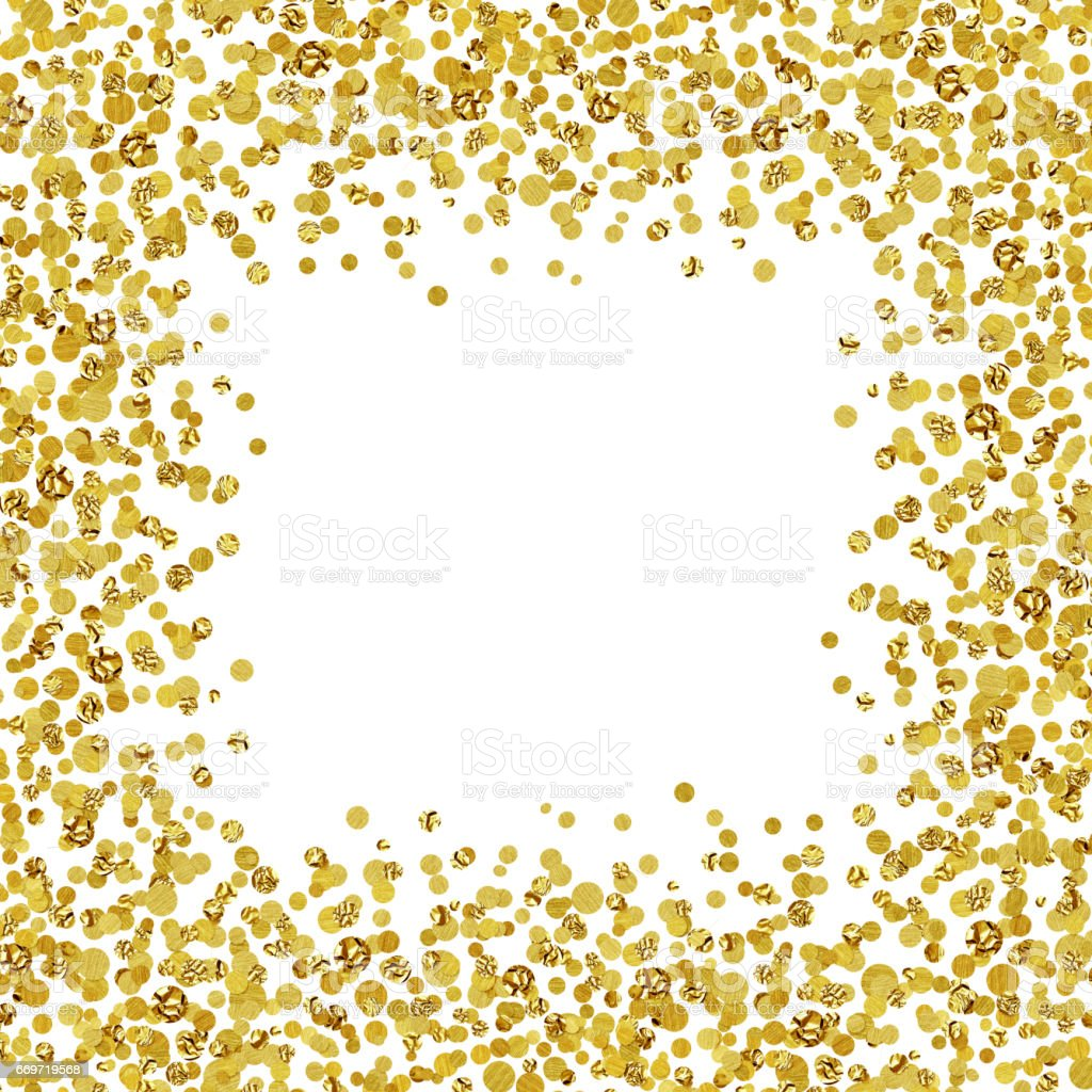 Background with scattered gold confetti frame stock photo