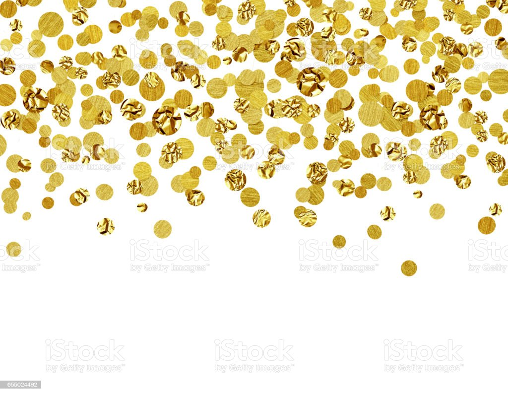Background with scattered gold confetti stock photo