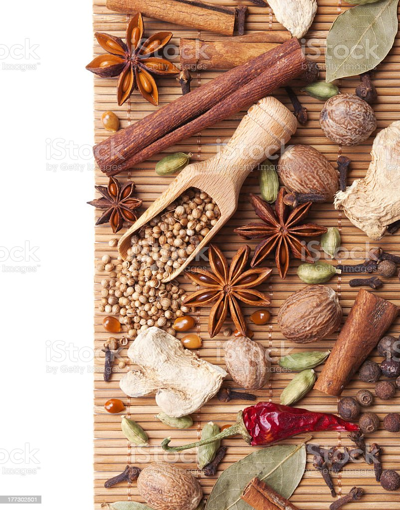 Background with spices and herbs royalty-free stock photo