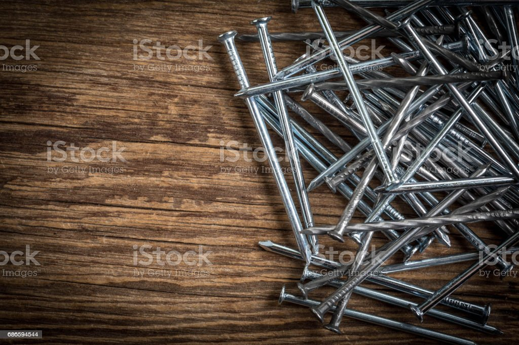 Background with steel nails. royalty-free stock photo