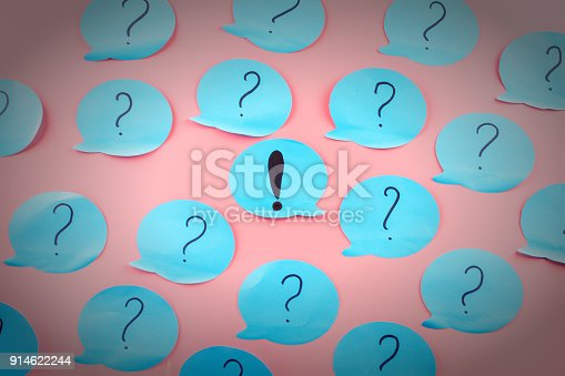 istock Background with stickers. Question marks written on blue papers. Exclamation point in the center. 914622244