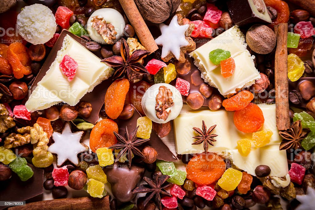 background with sweets and chocolate stock photo