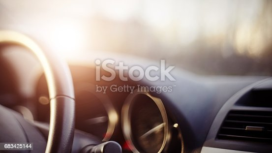 istock Background with the dashboard of the car 683425144