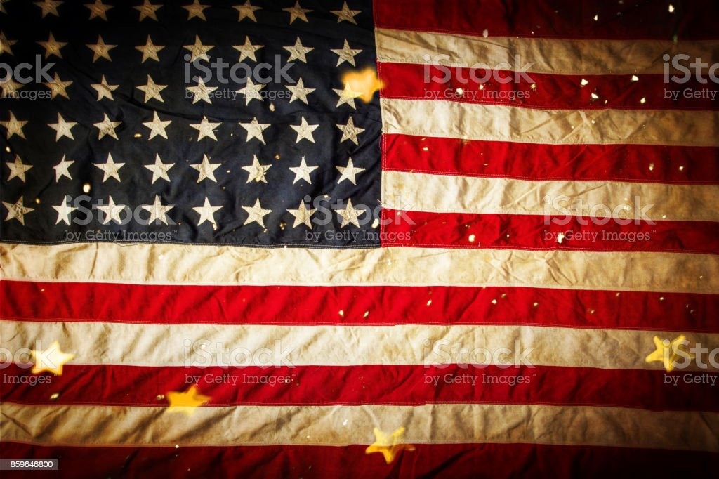 Background with vintage USA flag stock photo