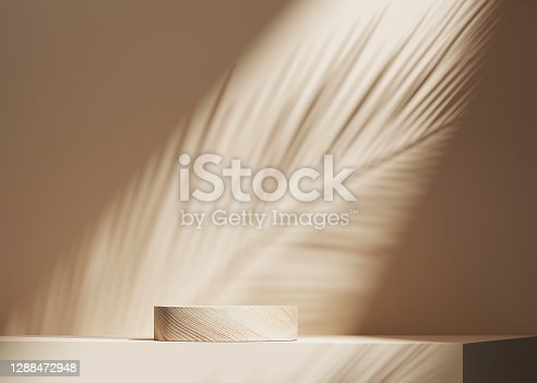 istock 3D background, wood pedestal podium on natural palm leaf shadow pastel beige backdrop. Tropical product promotion Beauty cosmetics wooden display. Nude Studio Minimal showcase 3D render advertisement. 1288472948