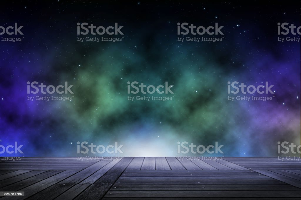 Background wooden floor with beautyful sky at the night scene. stock photo
