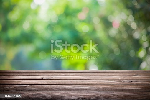 1048926386 istock photo Backgrounds: Empty wooden table with defocused green lush foliage at background 1166687465