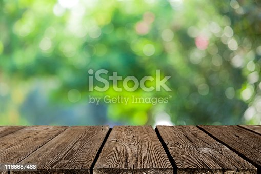 1048926386 istock photo Backgrounds: Empty wooden table with defocused green lush foliage at background 1166687466