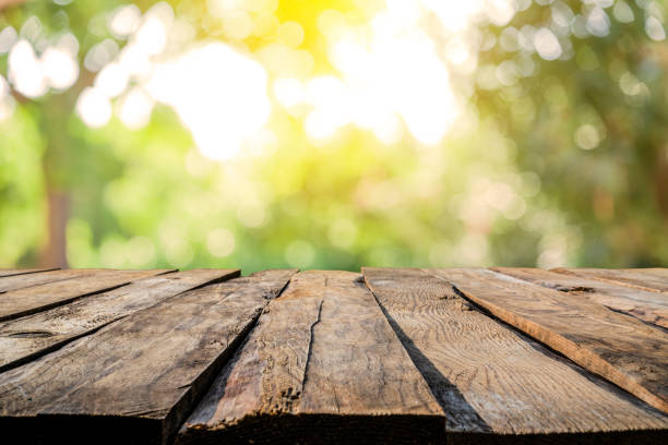 backgrounds: empty wooden table with defocused yellowish lush foliage at background - mata imagens e fotografias de stock