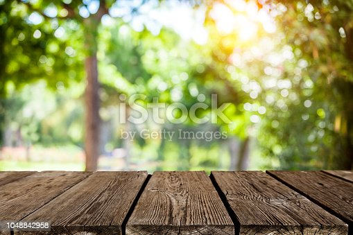 1048926386 istock photo Backgrounds: Empty wooden table with green lush foliage at background 1048842958