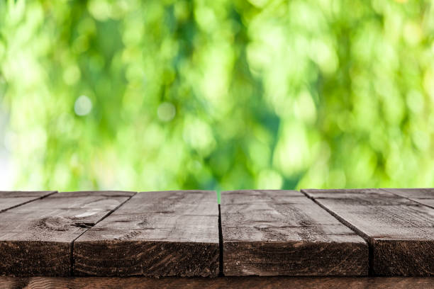 backgrounds: empty wooden table with green lush foliage at background - parte superiore foto e immagini stock